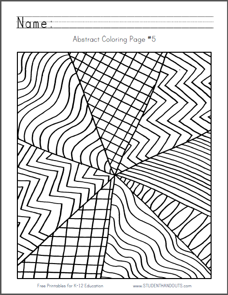 Abstract Design Coloring Page 5 Free To Print Pdf File For Children Or Adults Abstract Coloring Pages Coloring Pages Abstract