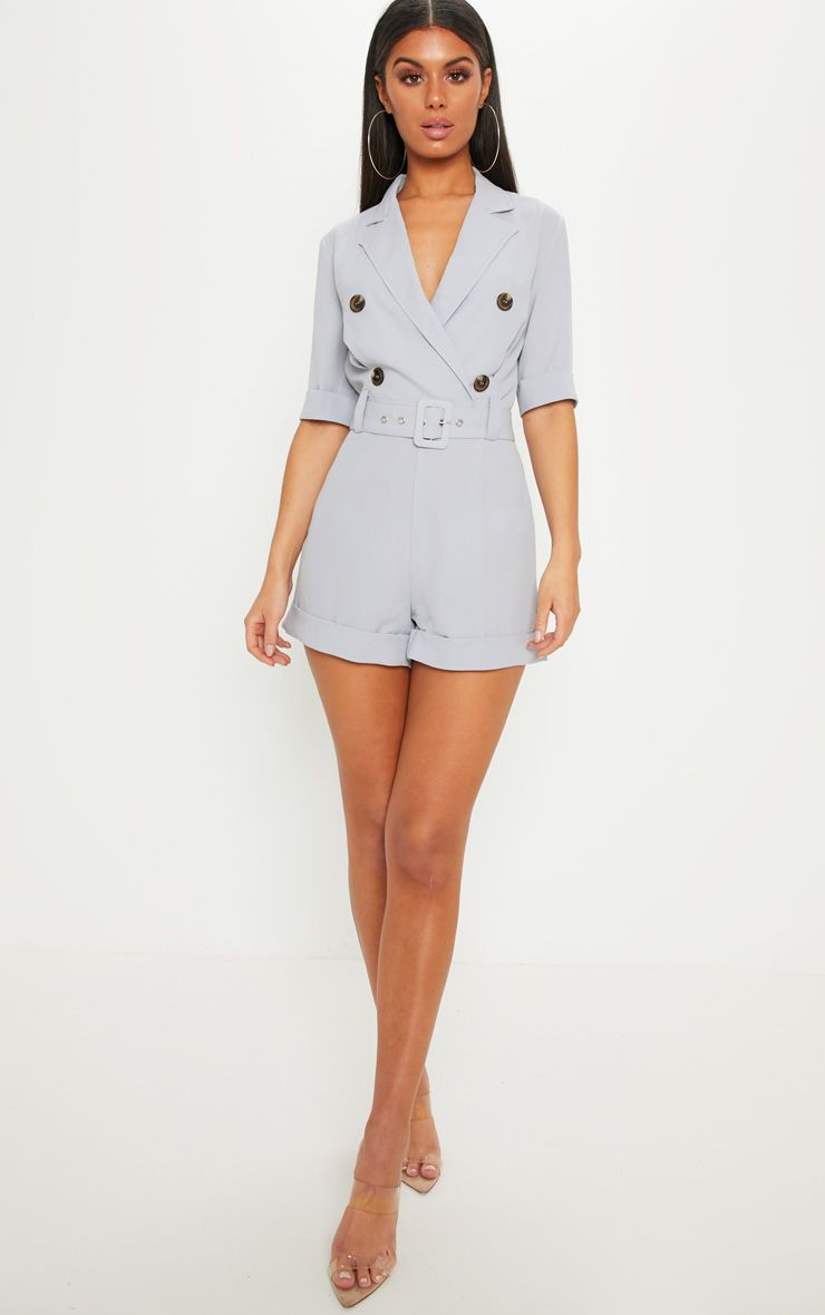 cd38011658 Ice Grey Brushed Satin Tortoiseshell Button Romper in 2019