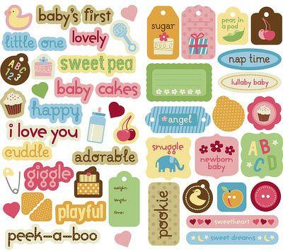 Pegatinas para bebes para imprimir imagenes y dibujos para imprimir album bebe scrapbook - Decoracion de album de fotos ...