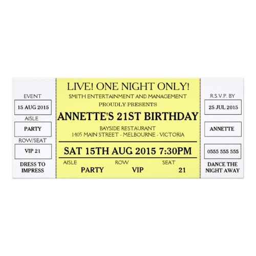 Unique Birthday Invitation (Concert Ticket Styled) Birthday - broadway ticket template