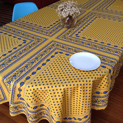 Provencal Cotton Tablecloth Table Cloth Blue Table Linens French Table Linens