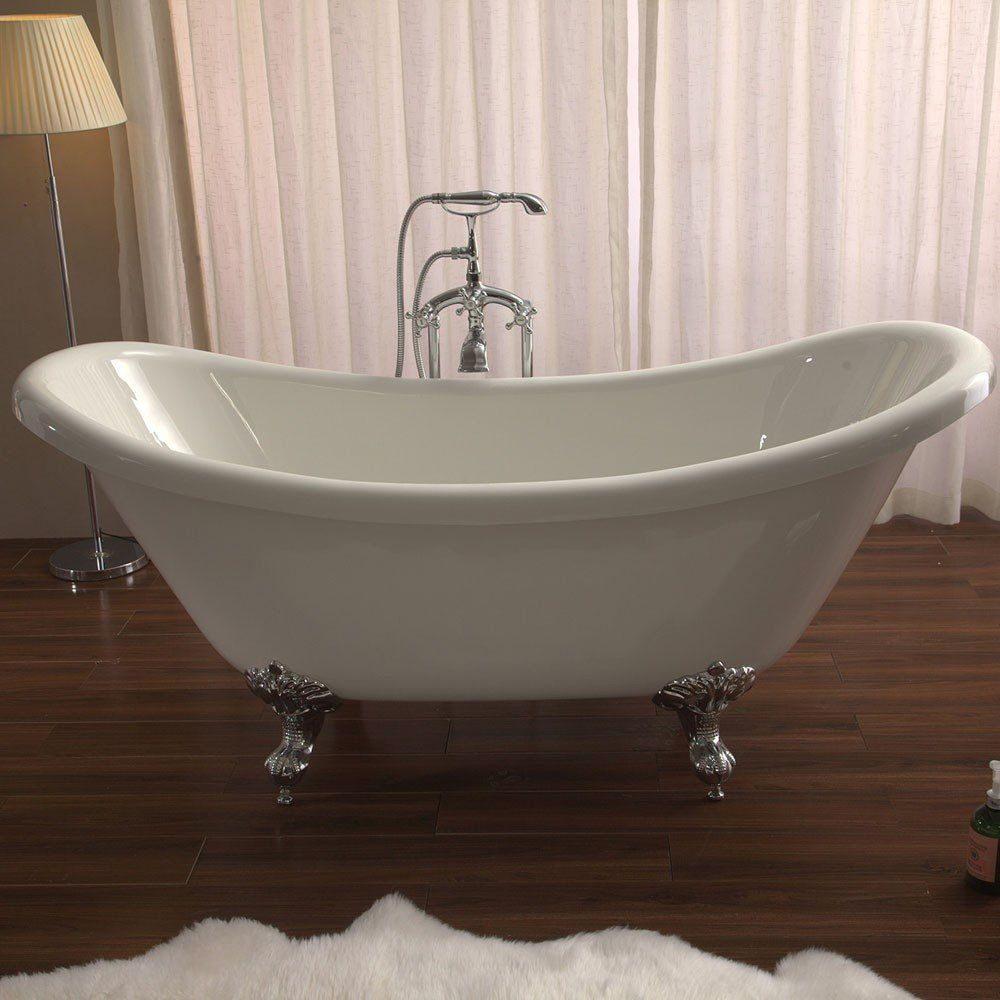 Azzuri Nova 67 Inch Acrylic Double Slipper Clawfoot Bathtub ...