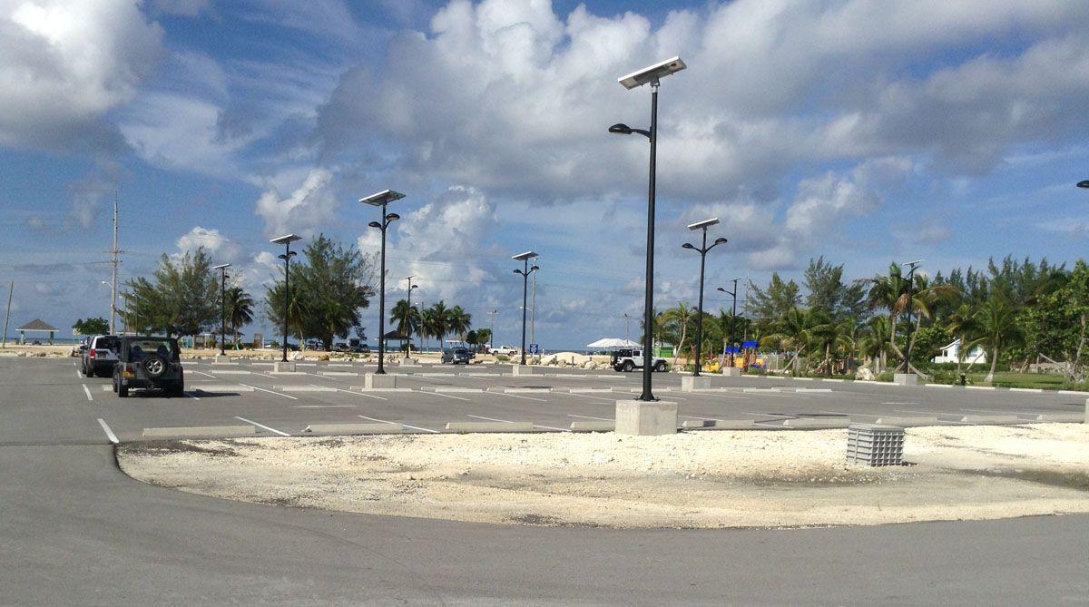 seven mile beach cayman islands solar parking lot lighting