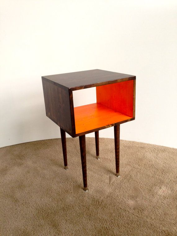 READY TO SHIP The Side Table...Mid Century Modern Side Table Chocolate And  Orange / Furniture Midcentury Bed Side Table End Table