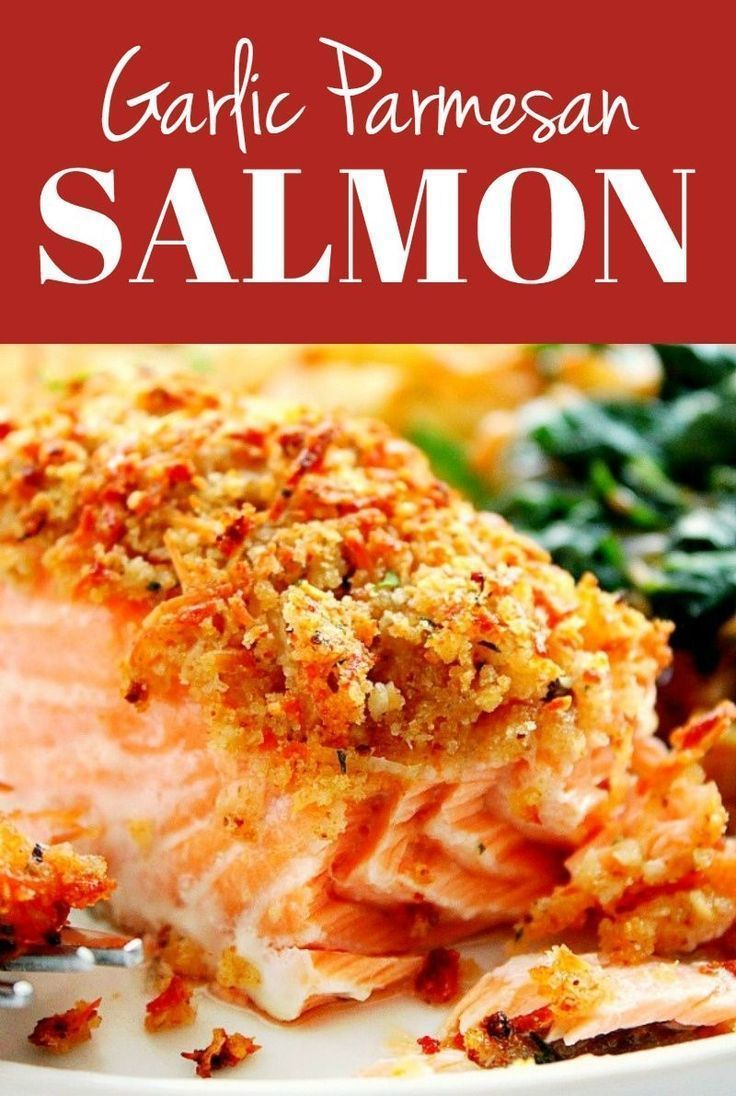 Garlic Parmesan Crusted Salmon Recipe - quick and easy salmon with crunchy garlic butter Parmesan cr