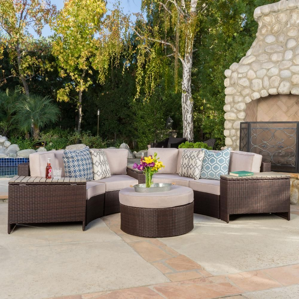 Urban Sofa Barneveld Noble House Lachlan Brown 8 Piece Wicker Outdoor Sectional Set
