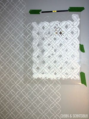 Clean & Scentsible: Stenciled Bathroom Wall and the Cutting Edge Stencil Winner