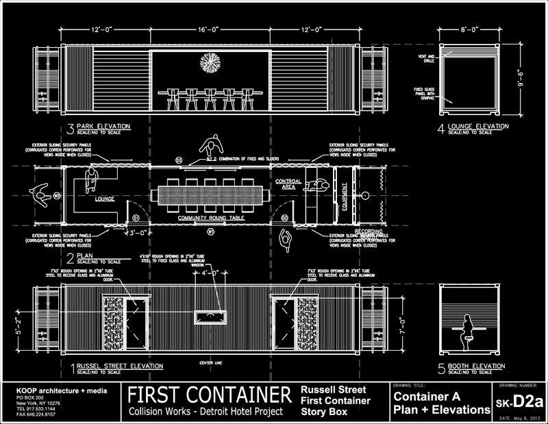 Show Container House Project Plan Elevations As White On Black Arquitetura