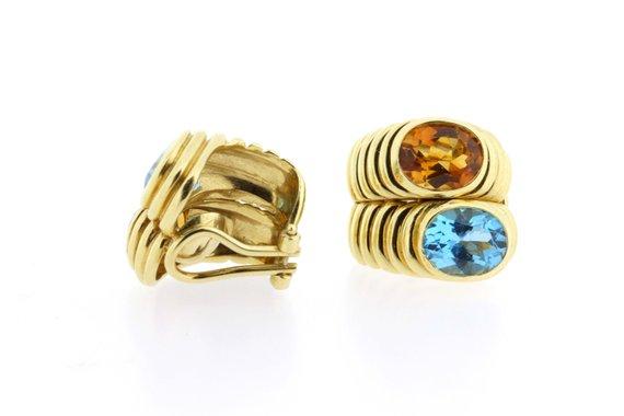 a18beb6ce 18K Yellow Gold Citrine and Blue Topaz Oval Earrings Virginia Capri ...