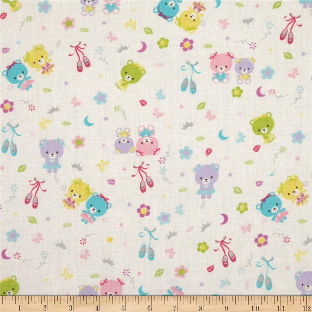 Baby Talk Ballerina Bears White 100/% cotton fabric by the yard