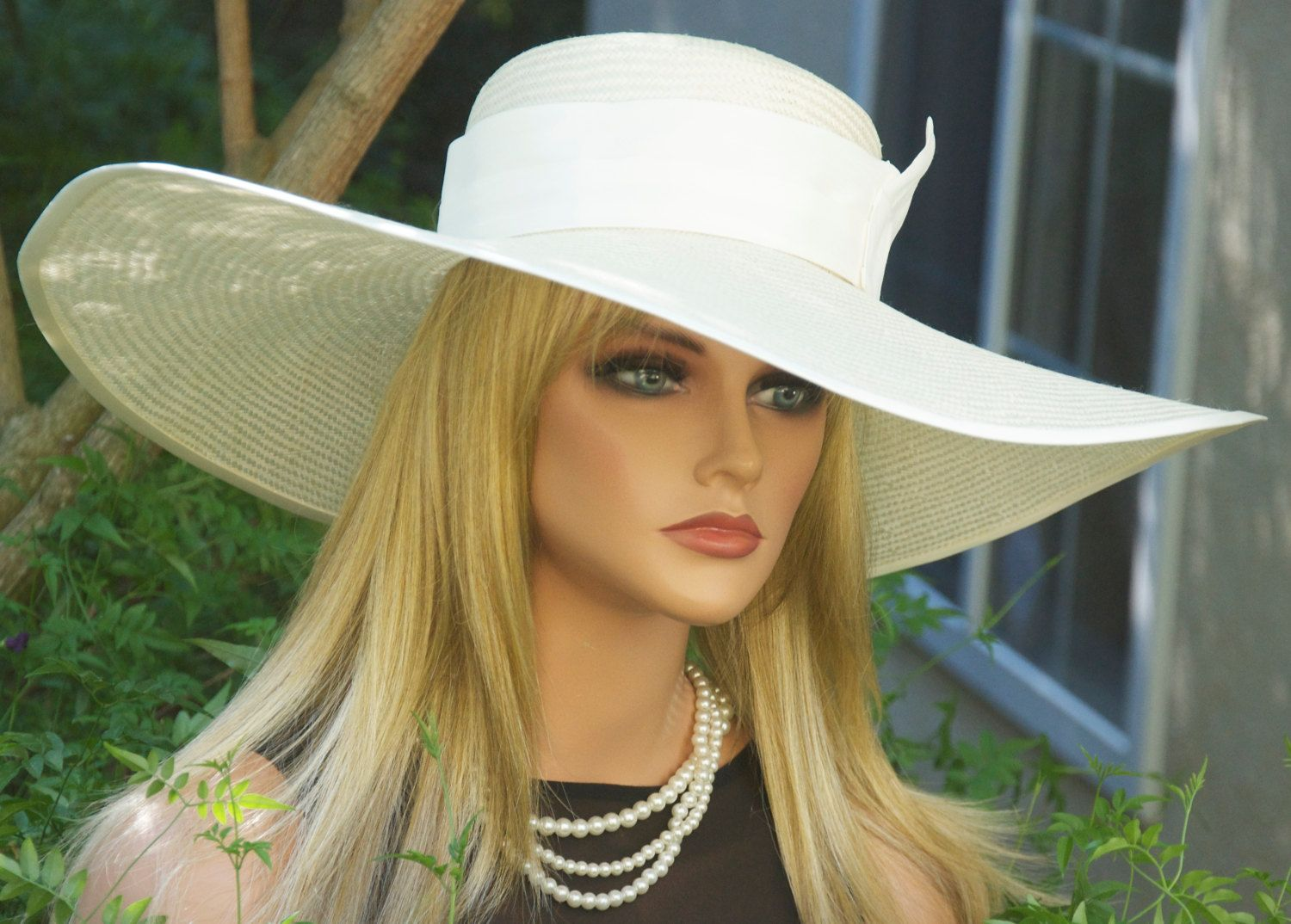 ivory Kentucky derby ascot wedding church dress fancy wide brim sinamay formal