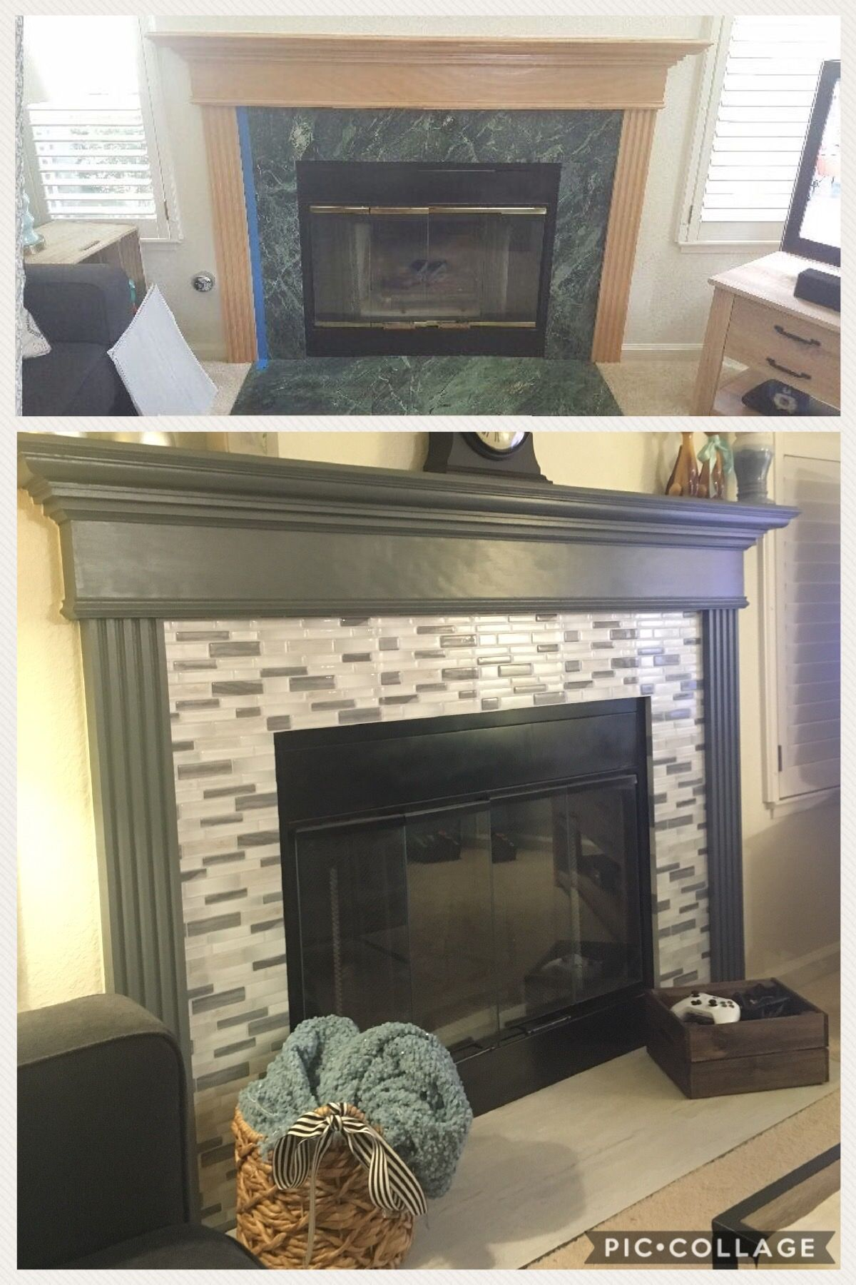 Diy Fireplace Makeover With Peel And Stick Tiles Diy Fireplace Makeover Fireplace Makeover Diy Fireplace