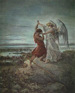Jacob luttant avec l'ange  ; Gustave DORE ; 1865, gravure ; La Saint Bible