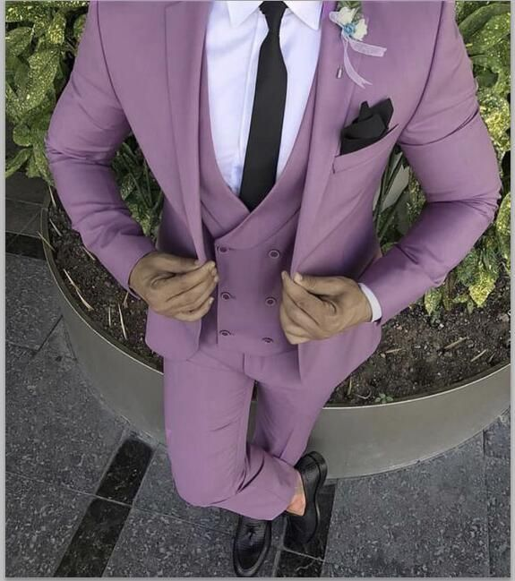 90f4a238083a 2018 Latest Coat Pant Design Purple Pink Men Tuxedo 3 Piece Custom (12-20  shipping)