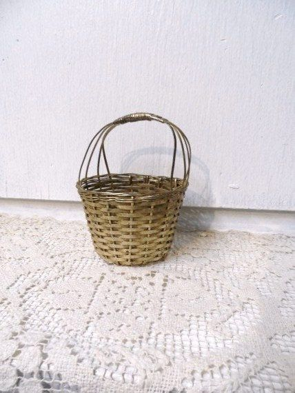 1900\u0027s German Christmas Tree Ornamental Woven Silver Basket- Woven