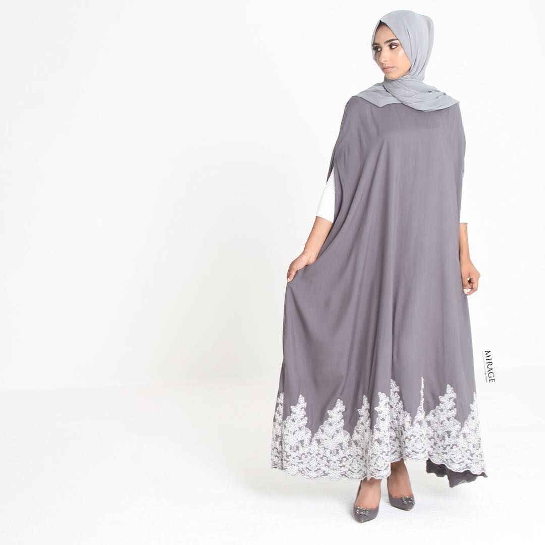Lace umbrella abaya  Grey Lace Appliqué Cape has now been restocked in all sizes Wonut