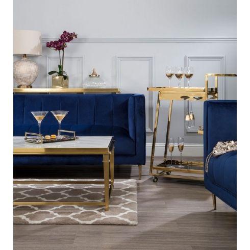 Otylia Deep Blue Velvet 3 Seat Sofa Velvet Couch Living Room Velvet Sofa Living Room Blue Living Room Decor