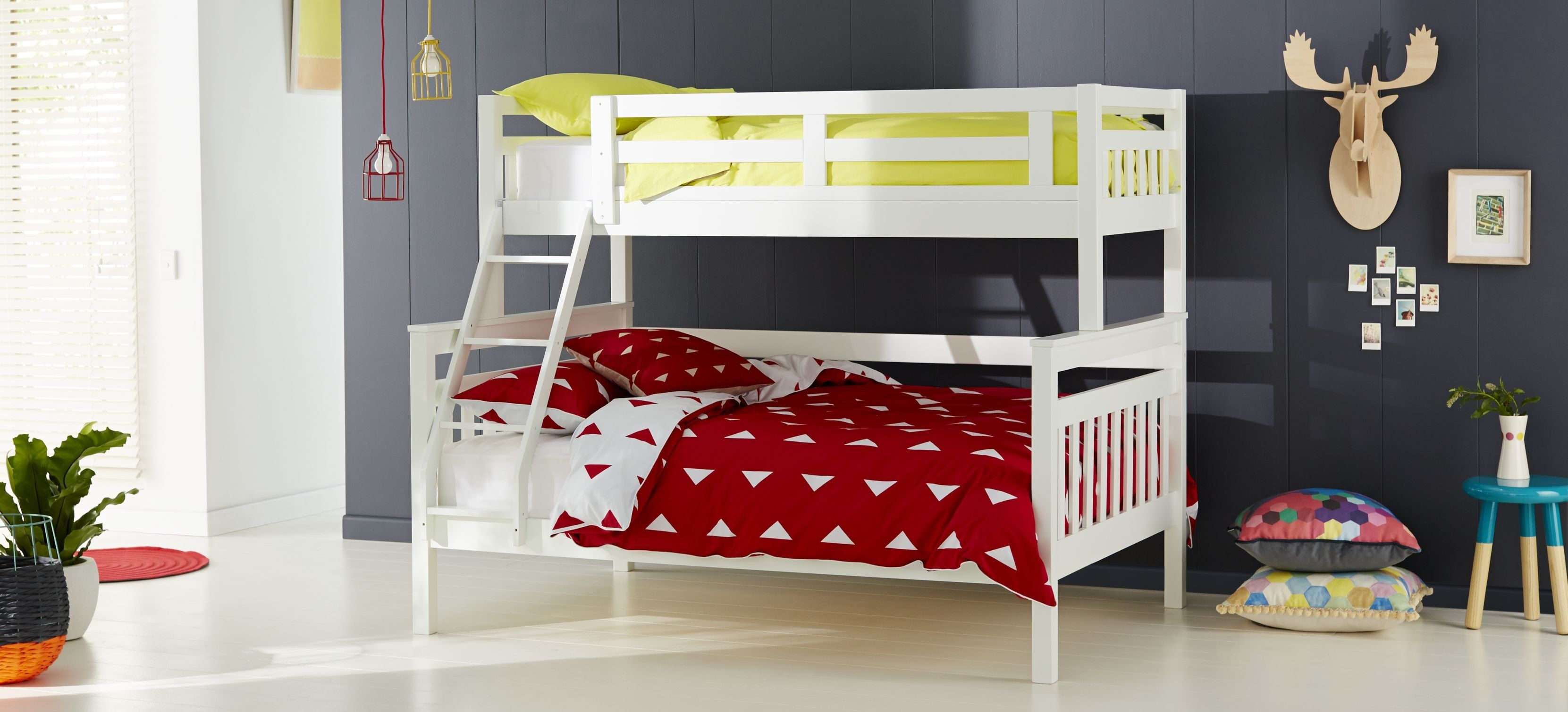 Kids Bedroom Suites Aztec Kids Bunk Beds In White Timber With Yellow And Red Patterned