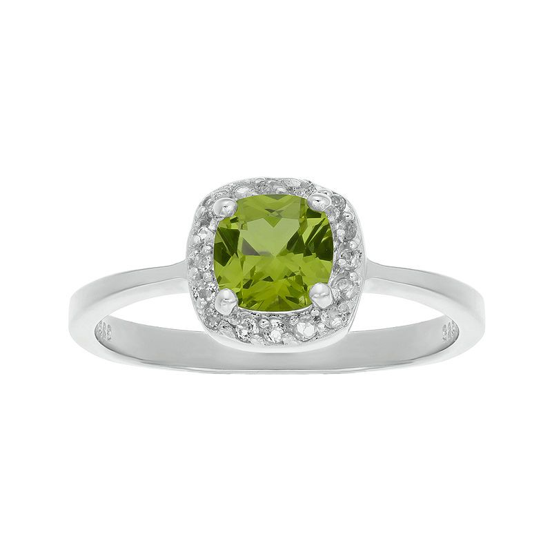 0.90 Ct Princess Green Peridot White Diamond 925 Sterling Silver Ring