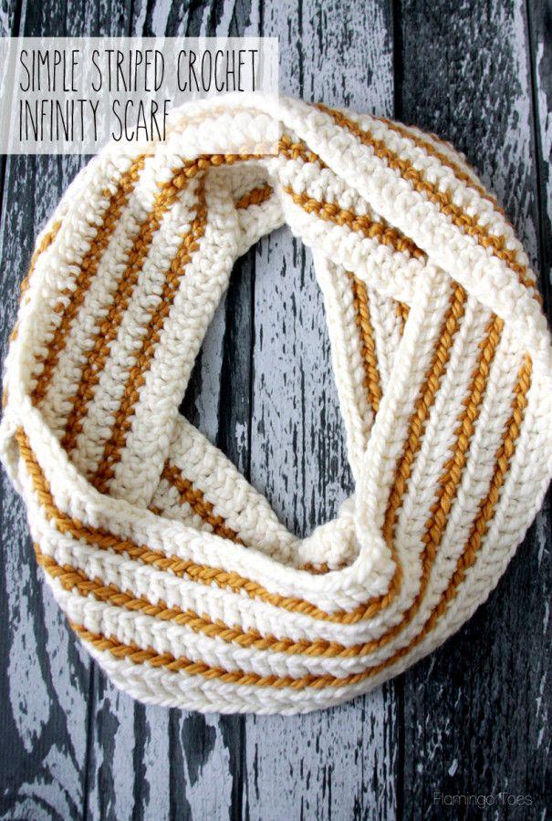 Cozy Striped Crochet Infinity Scarf -   Pinterest   Horca, Chal y ...