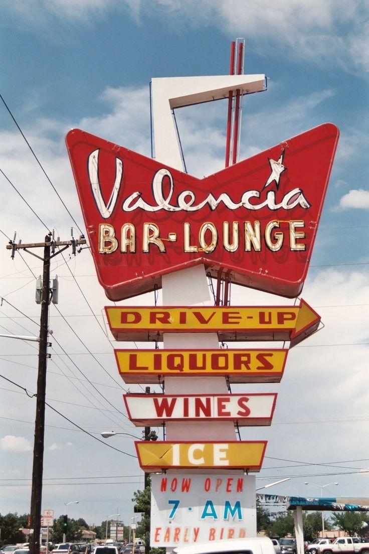 Valencia Bar Lounge Albuquerque Nm Neon Signs Retro Signage Vintage Neon Signs