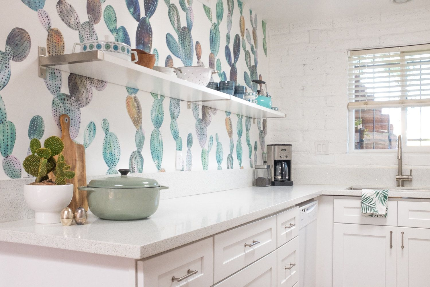 Cactus Wallpaper accent wall in a kitchen | Wallpaper | Pinterest ...