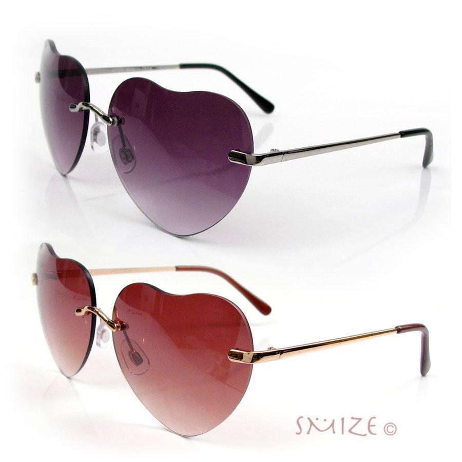 580891dd5a49 Heart Shape Sunglasses Women s Gold or Silver Rimless Love Aviator New   HeartVision  AviatorHeart