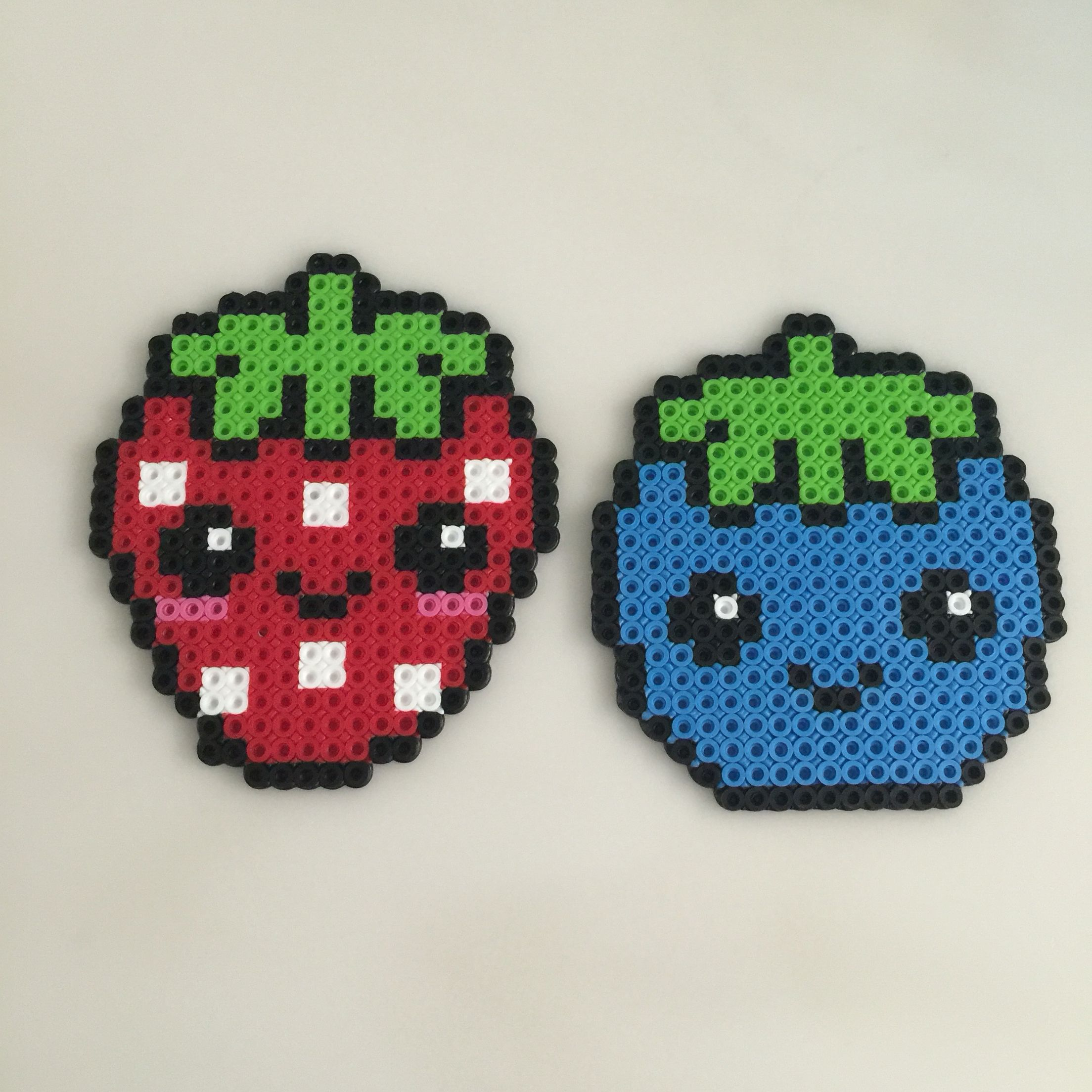 Strawberry And Blueberry Cuties Perler Beads Craftiness Hama