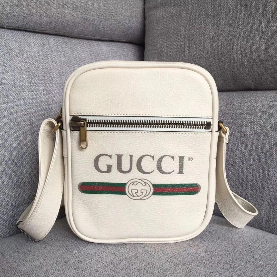 8f9329896d74 Gucci Leather Print Messenger Bag ‎523591 White 2018 #Guccihandbags  #replicahandbags
