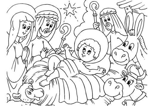 Kerststal Figuren Kleurplaten.Kleurplaat Kerststal Geboorte Van Jezus Kerststallen