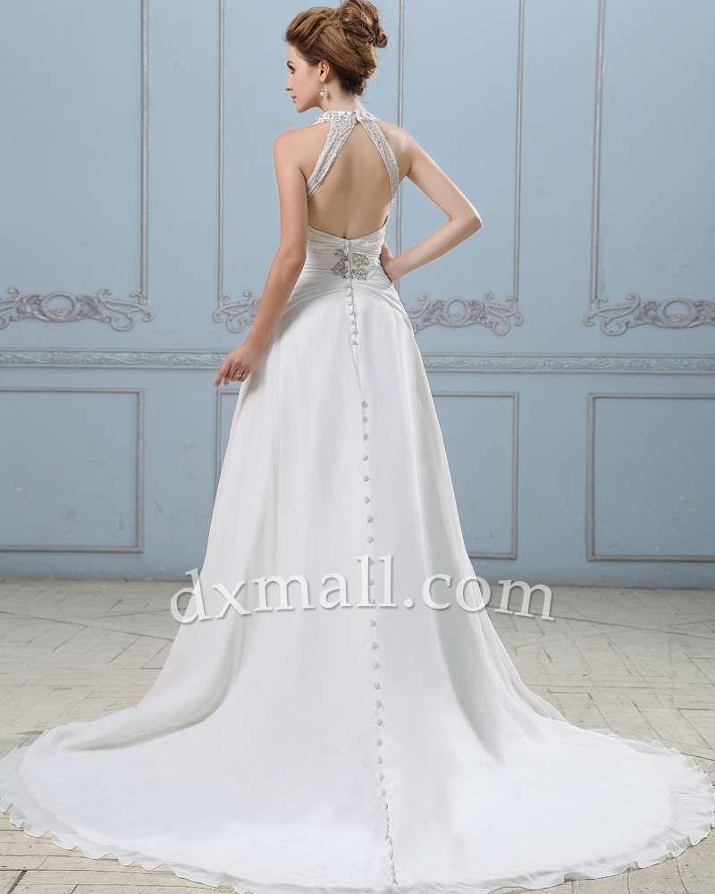 A-line Wedding Dresses Halter Chapel Train Chiffon Satin Ivory ...