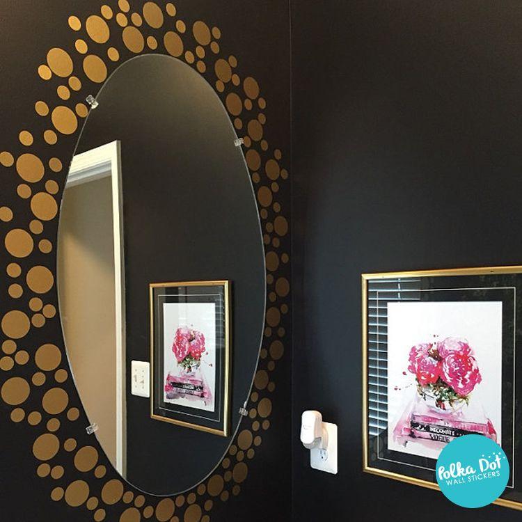 Gold Polka Dot Wall Decals On A Black Around Mirror Super Cute