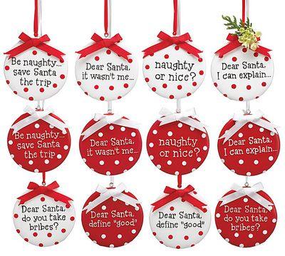 christmas sayings ornaments set of 6 resin red, white 5 1/3