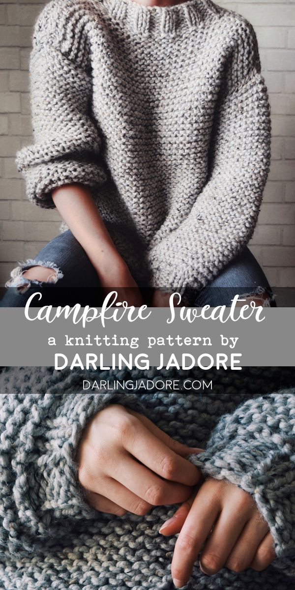 The Campfire Sweater Knitting Pattern, Chunky Knit Sweater Pattern | DarlingJadore.com | @DarlingJadore