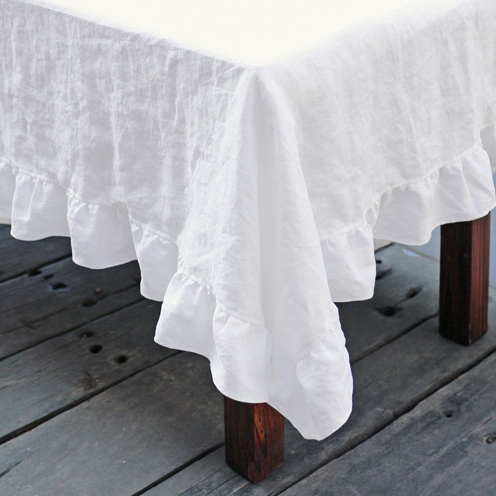 Pure Washed Linen Ruffled Tablecloth