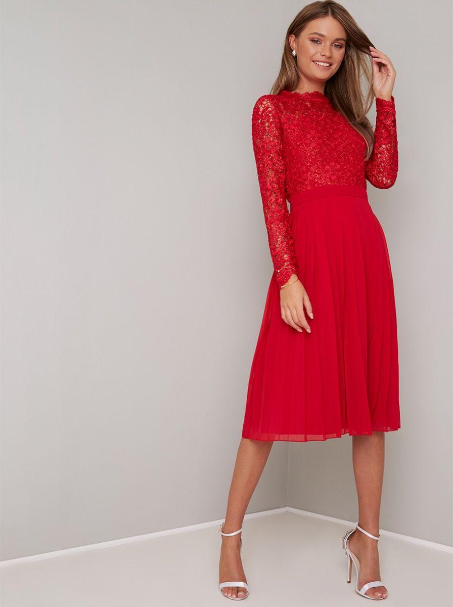 Chi Chi Naarah Dress Crochet Midi Dress Red Midi Dress Dresses