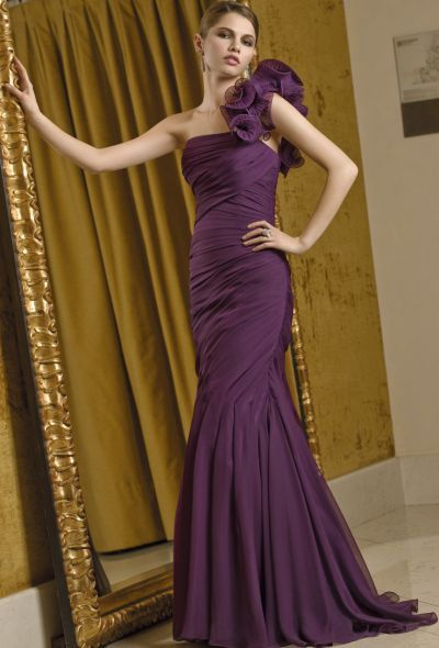 449398d33b2 VM Collection One Shoulder Ruffle Evening Dress with Stole 70210 at  frenchnovelty.com