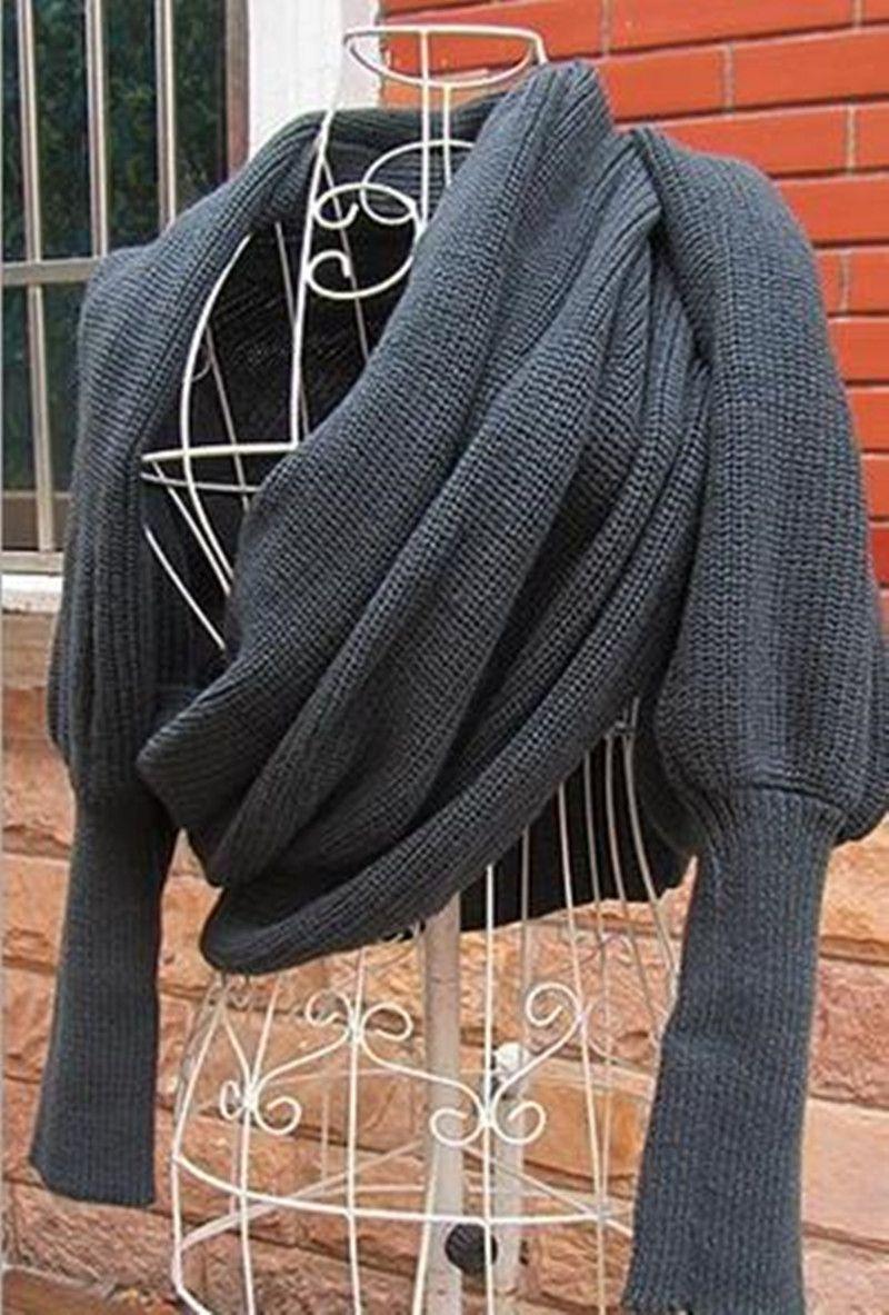1cfa80c9324 Mode femme Wrap châle femmes foulards solide écharpe manches hiver laine  chaude en tricot Crochet souple à Long Wrap châle echarpes nouveauté dans  Echarpes ...