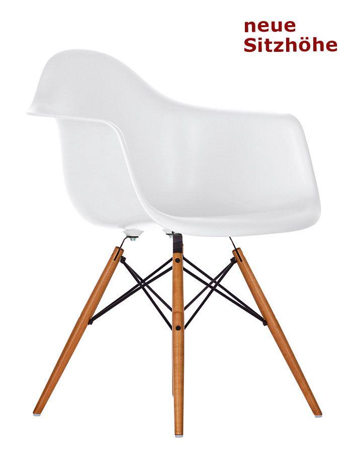 stuhl eames plastic armchair daw wei gestell ahorn neue sitzhhe - Eames Lounge Stuhl Abmessungen