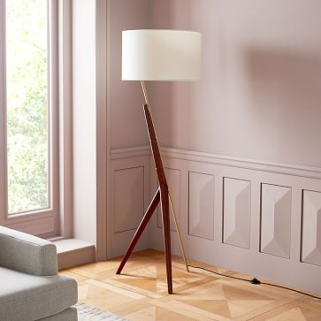 Caldas Floor Lamp White Linen Walnut Brass Floor Lamp Room Lamp Unique Lamps