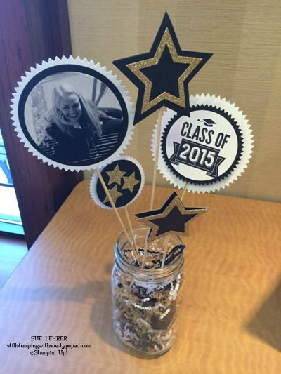Class of 2015 centerpiece 2015 stampin 39 up occasions for 8th grade graduation decoration ideas