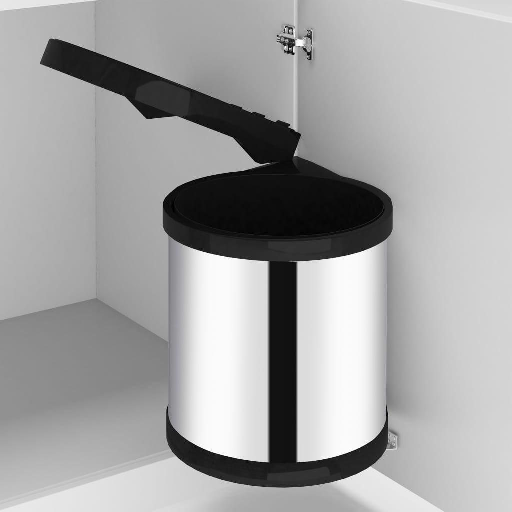 vida XL kitchen built-in rubbish bin stainless steel 8 L