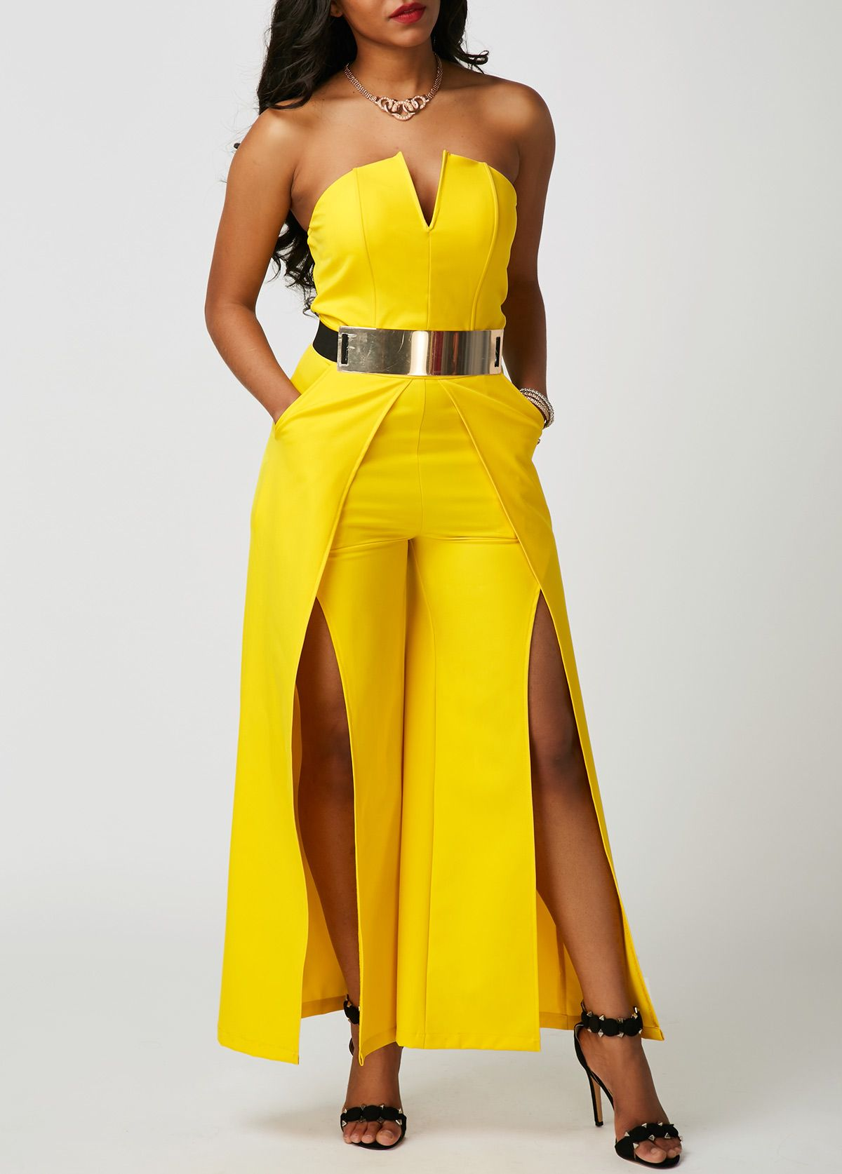 Yellow Strapless High Waist Overlay Embellished Jumpsuit | Rosewe.com - USD $31.74 | Virtual ...