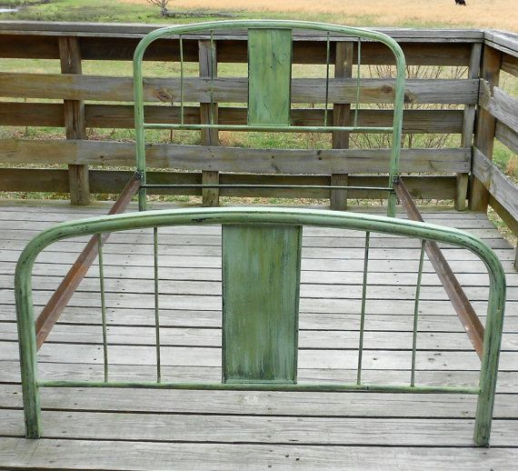 antique vintage french green metal bed full by shabbyhomefurniture 15000 - Vintage Iron Bed Frames