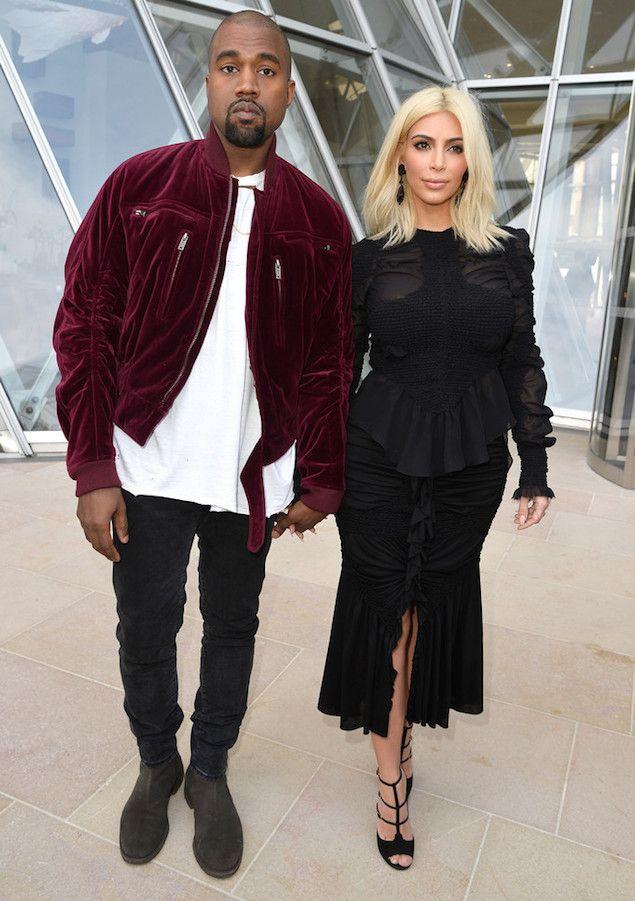 Kanye West Wears Haider Ackermann Bomber Velvet Jacket At Louis Vuitton Show Upscalehype Kim Kardashian Kanye West Kim And Kanye Kanye West And Kim