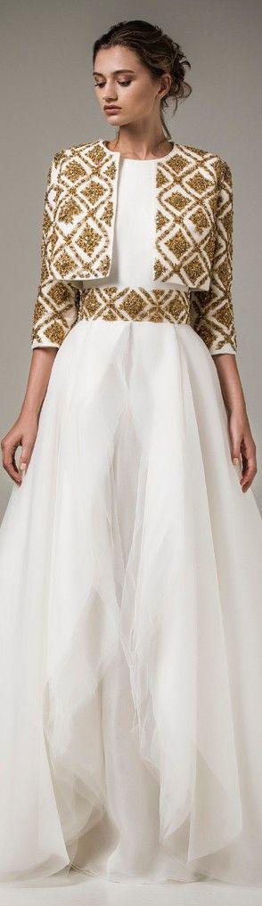 Vestidos de gala blanco con dorado