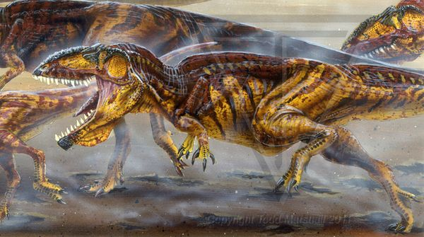 Paleo-Art: Various by Todd S. Marshall, via Behance  Mapusaurus roseae on the attack