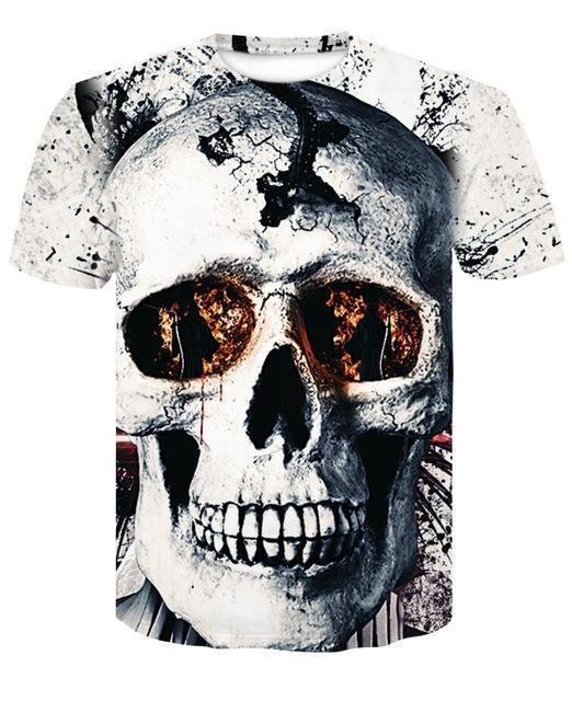 ffa058105b5 skull 3D Printing T-shirt Men Fitness Compression Shirts Tops Male T-shirt  Summer Cool High Street