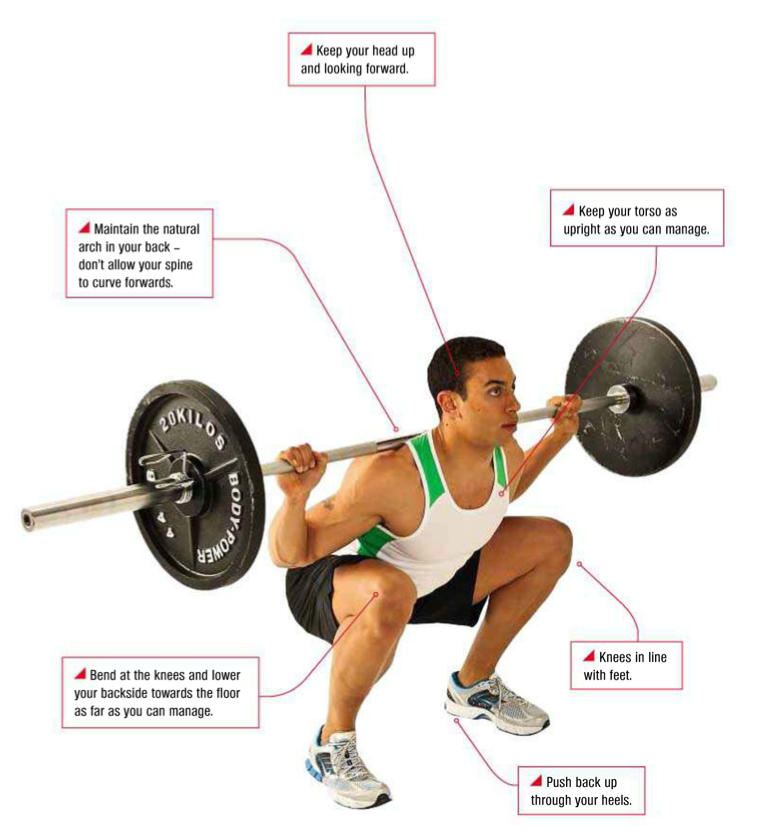 proper posture for barbell squat (2) knees in line with feet