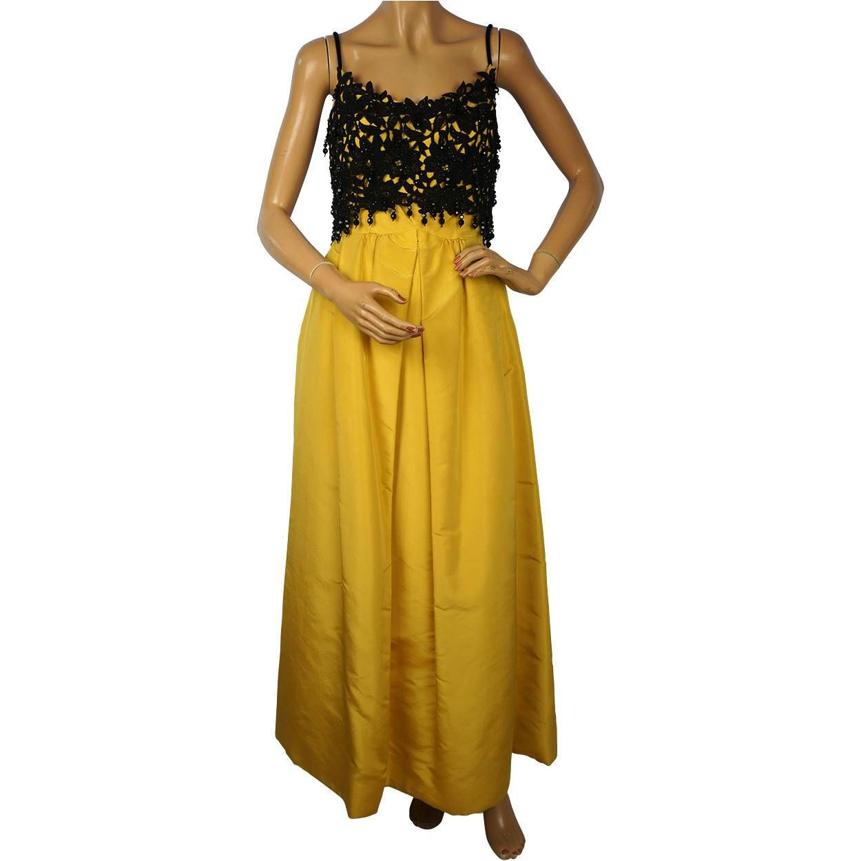1960s ball gown yellow silk and black lace with velvet